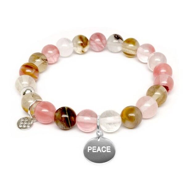 """Pink Cherry Quartz Peace Silver Charm Lucy 7"""" Bracelet"""