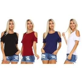 Isaac Liev Women's Cold Shoulder Short Sleeve Top