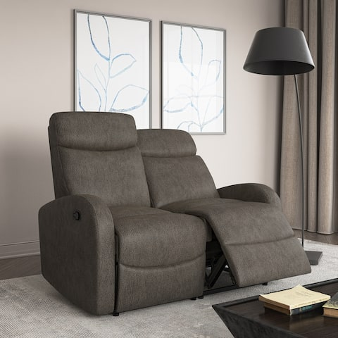 Strick & Bolton 2 Seat Distressed Faux Leather Reclining Loveseat