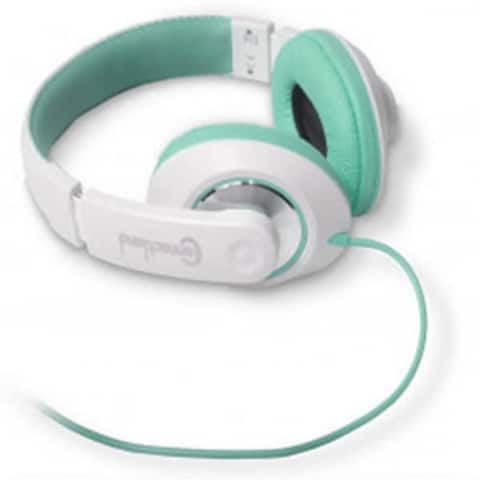 Syba CL-AUD63035 Over-the-Head DJ Style Headphones 3.5mm AUX (White/Teal) - NEW