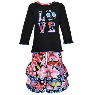 Little Girls Black Pink Blue Blooming Flower Flared Pants Outfit 2-6X