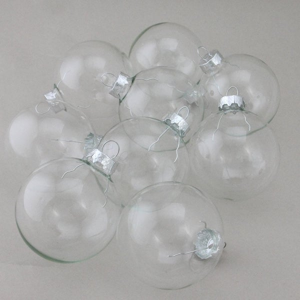 "9-Piece Clear Glass Ball Christmas Ornament Set 2.5"" (65mm)"