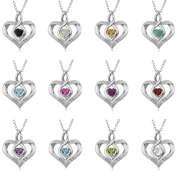 Sterling Silver Birthstone Heart Necklace with Diamond Accent. Opens flyout.