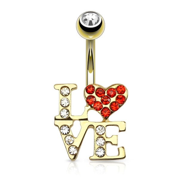 {Clear/Red} Love Logo With Paved Czs gold-plated 316L Surgical Steel Navel Ring