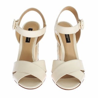 Dolce & Gabbana White Leather Majolica Print Sandals Shoes - 35