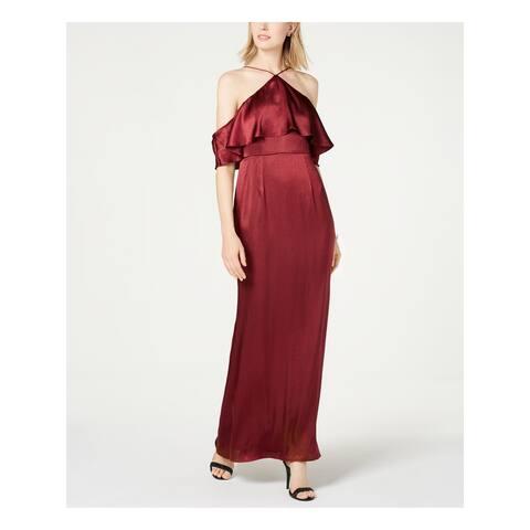 ADRIANNA PAPELL Maroon Short Sleeve Full-Length Dress Size 2