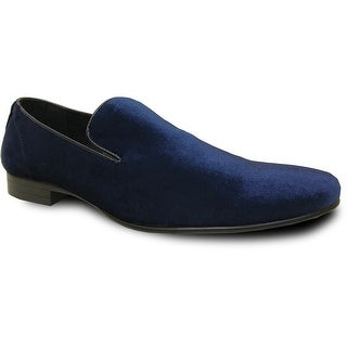 BRAVO Men Dress Shoe KLEIN-7 Loafer Shoe Blue Velvet with Leather Lining