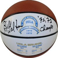 Bill Walton UCLA 1972 and 1973 National Champions Full Size White Panel Basketball w 7273 Champs In