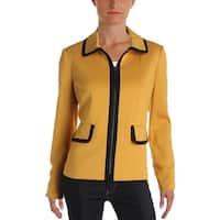 Kasper Womens Blazer Contrast Trim Long Sleeves