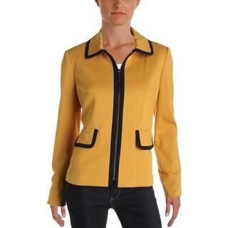 Kasper Womens Blazer Contrast Trim Long Sleeves - 4