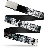 Blank Chrome Buckle Tom & Jerry Face & Pose Sketch Black White Red Web Belt