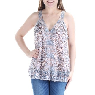 JOIE $398 Womens New 1314 Ivory Blue Floral V Neck Sleeveless Casual Top M B+B