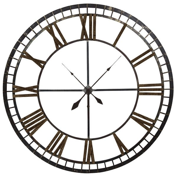 """Harp and Finial HFC2095 62-1/2"""" Diameter Big Ben Metal Analog Wall Clock - Brown / Black"""