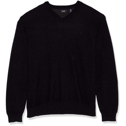 IZOD Mens Sweater Obsidian Black Size 2XL Pullover Ribbed-Knit V-Neck