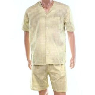 Club Room NEW Yellow Mens Size Small S Check-Printed Pocket Pajama Sets 435