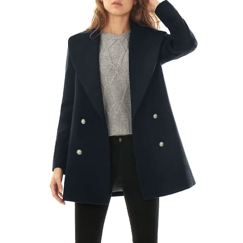 Women Notch Lapel Seam Pockets Double Breasted Worsted Coat - Blue