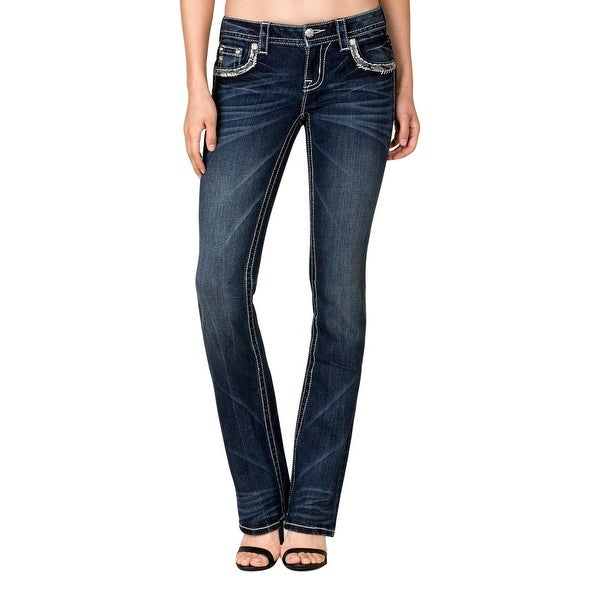 Miss Me Denim Jeans Womens Silver Sequin Slim Boot Cut Dark JP7749SB