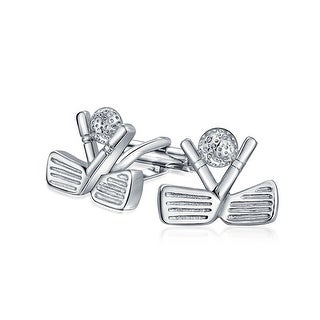 Bling Jewelry Mens Sports Cufflinks Golf Clubs and Ball Rhodium Plated