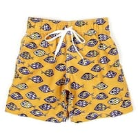 Azul Baby Boys Orange Aquatic Adjustable Waist Fish Eye Swim Trunks