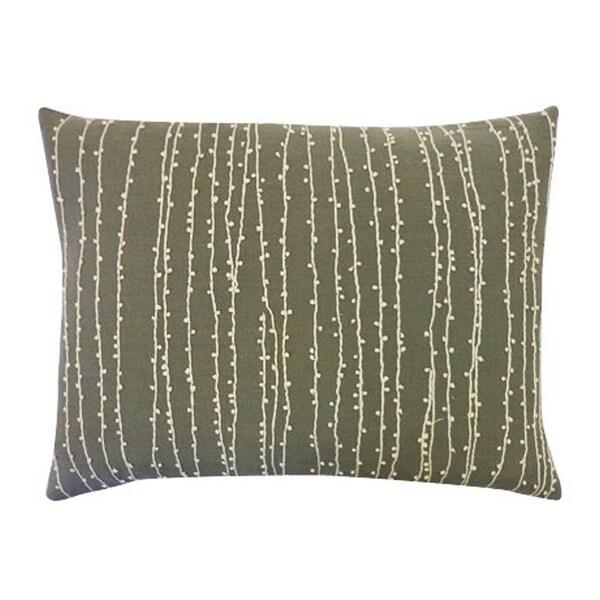 Vivai Home Grey Bead Raindrop Rectangle 12x 16 Cotton Feather Pillow