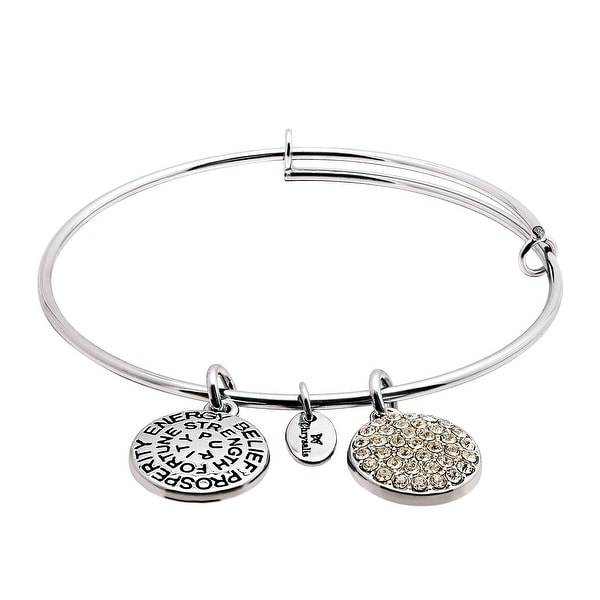 Chrysalis Expandable April Bangle Bracelet with White Swarovski Crystals in Rhodium-Plated Brass