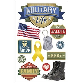 """Military Life - Paper House 3D Stickers 4.5""""x8.5"""""""