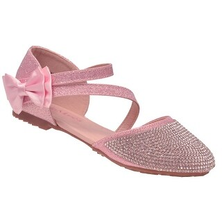 Bella Marie Girls Glitter Pink Diagonal Ankle Strap Bow Flats