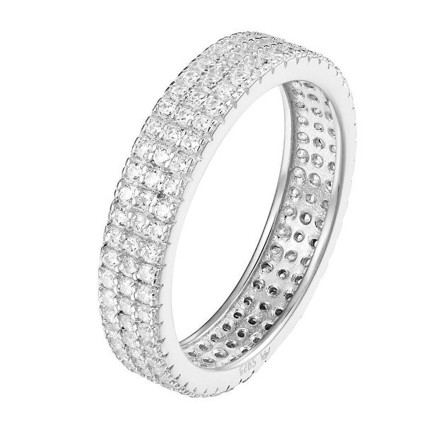Sterling Silver Eternity Ring 3 Row Cubic Zirconia Round Cut Wedding Band Ladies