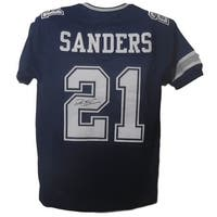 Deion Sanders Autographed Dallas Cowboys blue size XL jersey JSA