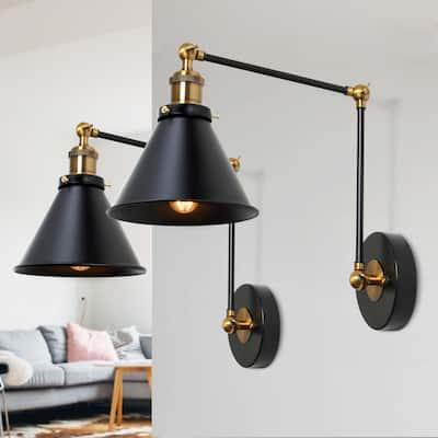 2-set Modern Adjustable Swing Arm Light Plug-in Wall Sconces