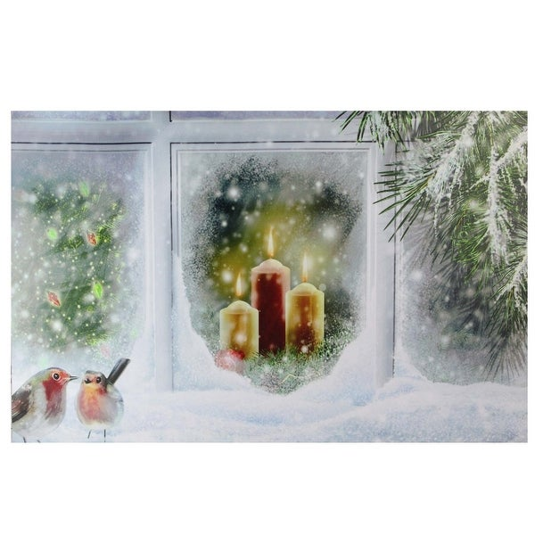 "LED Lighted Snowy Window Pane and Candles Christmas Canvas Wall Art 23.5"" x 15.5"""