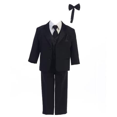 Boys Black Dinner Jacket Vest Bow Tie Zipper Tie Shirt Pant Tuxedo