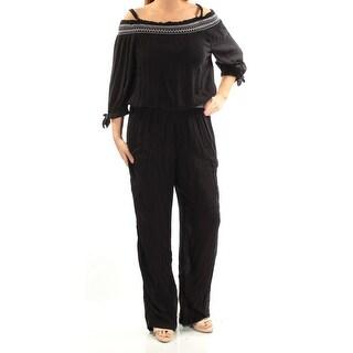 Womens Black Square Neck Long Sleeve Jumpsuit Size L