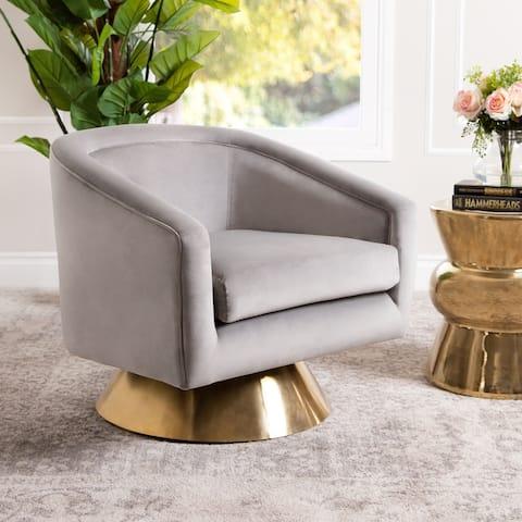 Abbyson Jaxon Velvet Swivel Chair