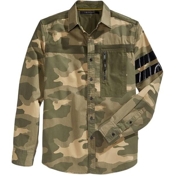 fca79344 Sean John Mens Big & Tall Button-Down Shirt Camouflage Long Sleeve - 4xlt