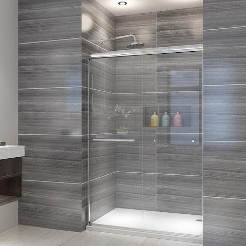 ELEGANT 48 x 72 Sliding Shower Door Semi-Frameless Chrome Finish
