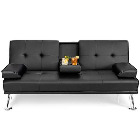Costway Convertible Folding Futon Sofa Bed Leather w/Cup - 66''x37''x16.5''