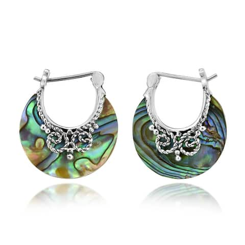 Handmade Glowing Shell Crescent Moon Bali Style Hoop Lock Sterling Silver Earrings (Thailand)