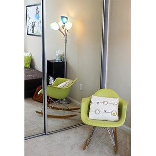 2xhome Green Natural Wood Metal Wire Plastic Rocker Chair Rocking For Bedroom Living Room with Arms Back