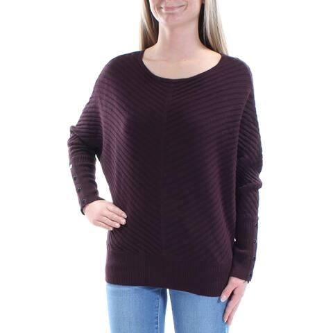 ALFANI Womens Burgundy Textured Dolman Sleeve Jewel Neck Sweater Size: XS