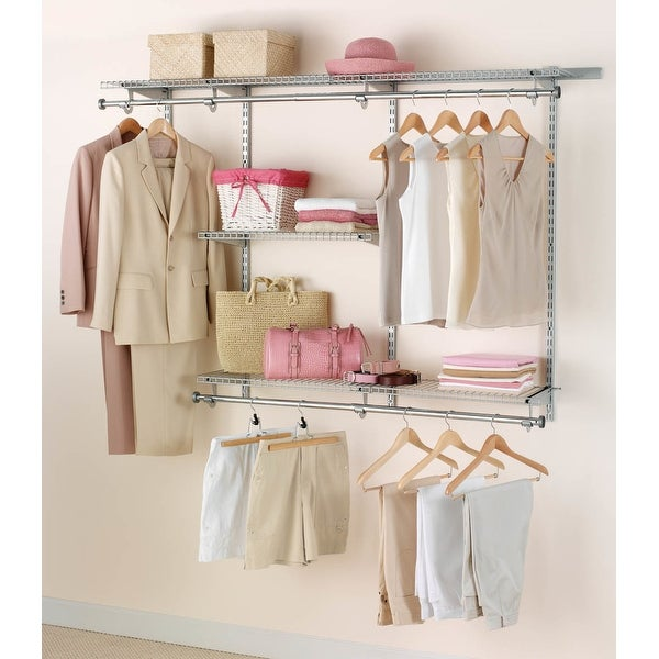 Rubbermaid Fg3h1102 Adjule Wall Mounted Closet System With 3 Shelves Free Shipping Today 27792177