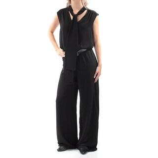 MICHAEL KORS $155 Womens New 1341 Black Belted Tie Cap Sleeve Jumpsuit S B+B