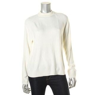 Karen Scott Womens Petites Pullover Sweater Back Zip Mock Turtleneck