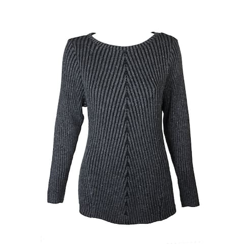 Style Co Dark Grey Heather Directional Ribbed-Knit Crew Neck Sweater 0X