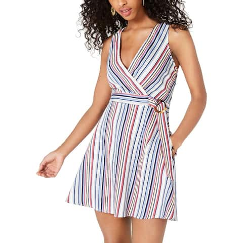Speechless Womens Mini Dress Striped Belted - Off White/Blue