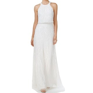 Adrianna Papell White Ivory Womens Size 4 Embellished Halter Gown