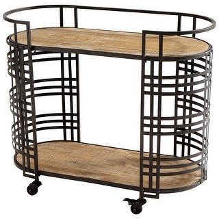 "Cyan Design 09044  Banded About 23-1/2"" Wide Iron and Wood Serving Cart with Casters - Bronze"