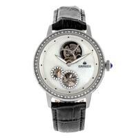Empress Tatiana Automatic Semi-Skeleton Leather-Band Watch - Black