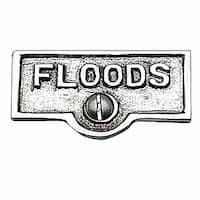 Switch Plate Tags FLOODS Name Signs Labels Chrome Brass