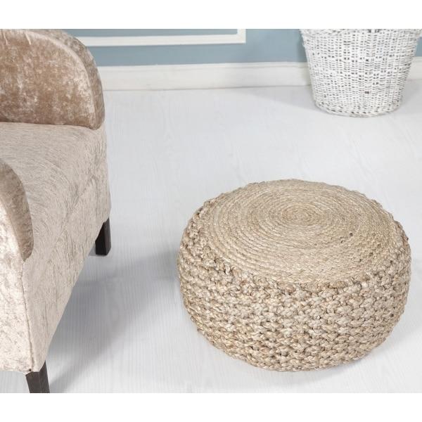 LR Home Basket Weave Hemp Natural Jute Pouf Ottoman. Opens flyout.